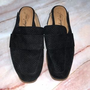 Free People At Ease Textured Black Mules